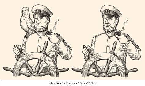 Captain at the helm smokes a pipe with a parrot on his shoulder. Design set. Hand drawn engraving. Editable vector vintage illustration. Isolated on light background. 8 EPS