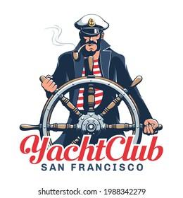 Captain hold helm - yacht club emblem. Sailor logo with seaman helmsman. Vector illustration.