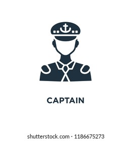 Captain icon. Black filled vector illustration. Captain symbol on white background. Can be used in web and mobile.