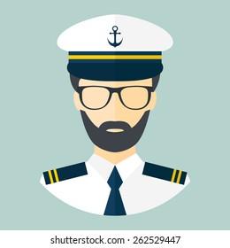 Captain icon. Flat style. Vector illustration