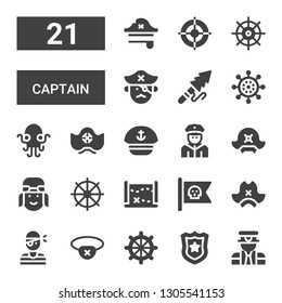 captain icon set. Collection of 21 filled captain icons included Pilot, Police badge, Helm, Eyepatch, Pirate, Pirate hat, Pirate flag, Treasure map, Policeman, Sailor, Kraken
