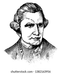 Captain James Cook, 1728-1779, he was a British explorer, navigator, cartographer who made detailed maps of Newfoundland prior to making three voyages to the Pacific Ocean, vintage line drawing