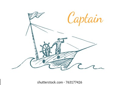 Captain. The leader sails on a yacht during a storm, looks into a telescope. Conceptual vector illustration, hand drawn sketch.