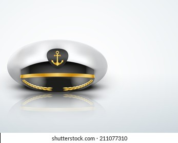 Captain peaked cap with gold anchor on cockade. Vector illustration isolated on white background.