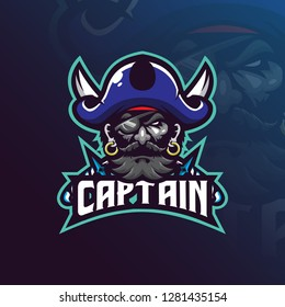 captain pirates mascot logo design vector with modern illustration concept style for badge, emblem and t shirt printing. pirates illustration with a sword.