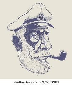 captain, sea-dog. engraving style. vector illustration