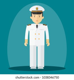 Captain of ship in white suit. Command of military cruiser, a cruise liner. Flat vector cartoon illustration. Objects isolated on a white background.