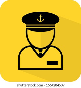 Captain sign. Navy officer figure. Naval admiral. Sailor human dummy profile. Flat 3D shadow design. yellow background black vector. product brand service label banner board display. App icon.