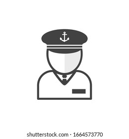 Captain sign. Navy officer figure. Naval admiral. Sailor human dummy profile. Flat minimalist design. white Gray vector. product brand service label banner board display. App icon.