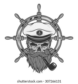 Captain Skull in a hat with a beard on a background of sea helm.
