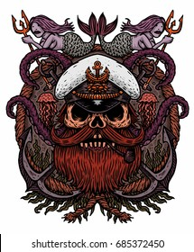 Captain Skull in a hat with a beard and a pipe  with tentacles of octopus and mermaids. Vector illustration