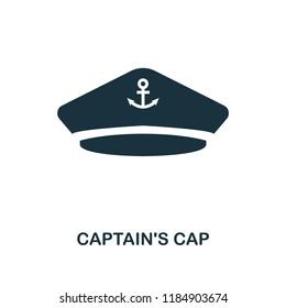 Captain'S Cap icon. Monochrome style design. UI. Pixel perfect simple symbol captain's cap icon. Web design, apps, software, print usage