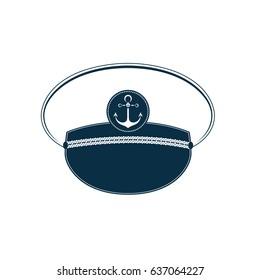 Captain's hat icon. Sailor cap. Marine outfit.