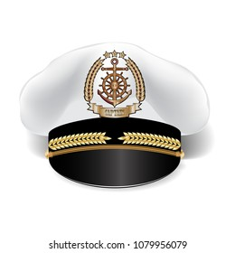 Captain's realistic 3d cap with cockade isolated on white background
