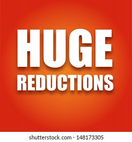 Caption large white letters Huge reductions on a red background, vector illustration for your design