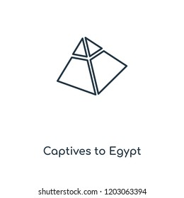 Captives to Egypt concept line icon. Linear Captives to Egypt concept outline symbol design. This simple element illustration can be used for web and mobile UI/UX.
