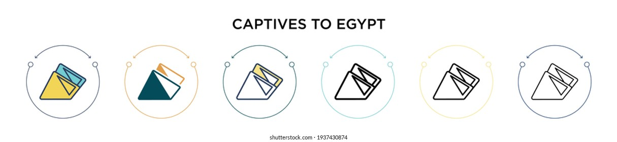 Captives to egypt icon in filled, thin line, outline and stroke style. Vector illustration of two colored and black captives to egypt vector icons designs can be used for mobile, ui, web