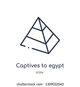 captives to egypt icon from religion outline collection. Thin line captives to egypt icon isolated on white background.