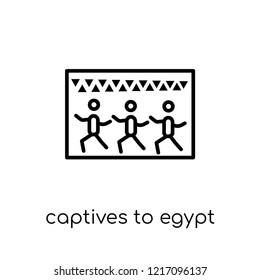 Captives to Egypt icon. Trendy modern flat linear vector Captives to Egypt icon on white background from thin line Religion collection, editable outline stroke vector illustration