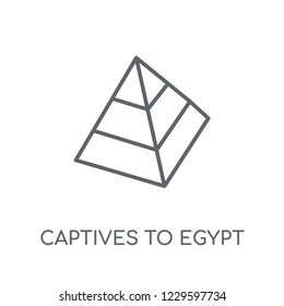 Captives to Egypt linear icon. Modern outline Captives to Egypt logo concept on white background from Religion-2 collection. Suitable for use on web apps, mobile apps and print media.
