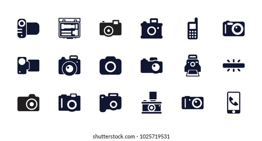 Capture icons. set of 18 editable filled capture icons: camera, phone