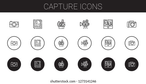 capture icons set. Collection of capture with photo camera, photo, camera. Editable and scalable capture icons.