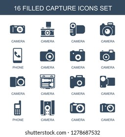 capture icons. Trendy 16 capture icons. Contain icons such as camera, phone. capture icon for web and mobile.