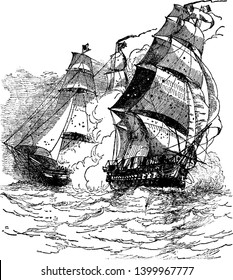 Capture of La Vengeance by Constellation was victorious after a five hour battle, vintage line drawing or engraving illustration.