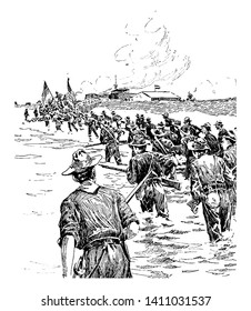 The Capture of Manila waged war with the Spaniards and Filipinos in the Spanish American War and the Philippine American War, vintage line drawing or engraving illustration.
