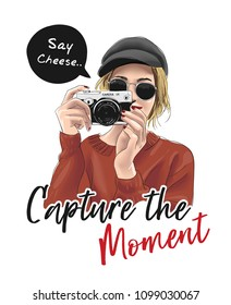 capture the moment slogan with girl holding camera illustration