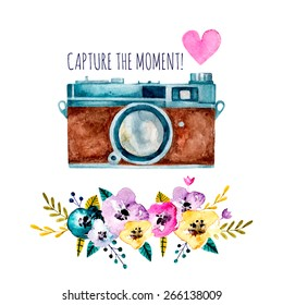 Capture the moment! Vintage watercolor camera with flowers and heart. Hand drawn vector illustration.