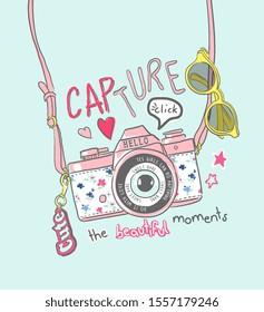 capture slogan with cartoon colorful camera hanging illustration
