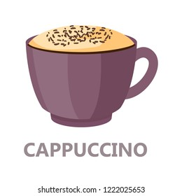 Capuccino cup of coffee. Brown drink for breakfast with cream. Aroma beverage with milk. Flat vector illustration