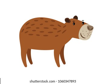 Capybara cute brown cartoon animal icon isolated on white background, vector illustration