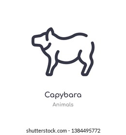 capybara outline icon. isolated line vector illustration from animals collection. editable thin stroke capybara icon on white background