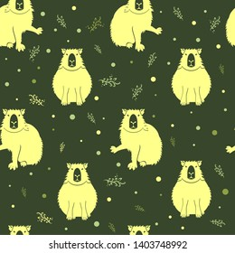 Capybara seamless pattern. Silhouette of animal with bubbles and twigs in Negative space style. Pattern with badges of a gentle mammal, perfect for packaging.