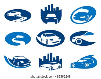 Car. Abstract element set of sign templates. Also as emblem.