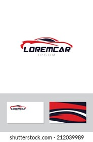 Car abstract lines vector logo design concept with business card template. Concept for automobile repair service, spare parts store.