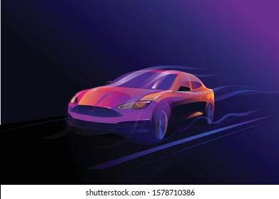 Car abstract neon light effect vector