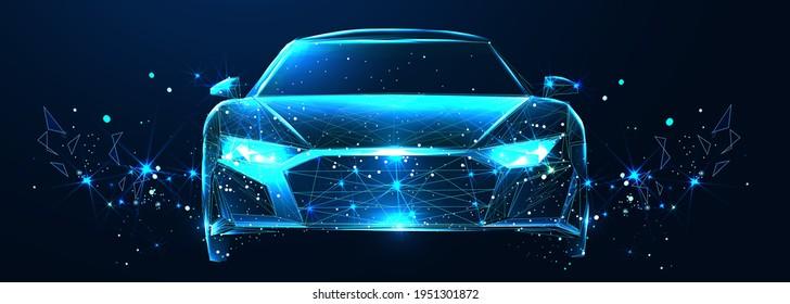 Auto. Abstrakter Vektor 3d modernes Auto. Einzeln auf dunkelblauem Hintergrund. Digital futuristische Polygonal Low-Poly-Mesh-Illustration