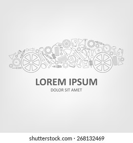 Car abstract vector logo design concept. Simple linear style icons. Spare parts for cars.