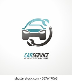 Car abstract vector logo design concept. Car service.