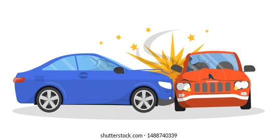 Car accident. Broken automobile on the road, emergency situation. Damaged auto. Isolated vector illustration in cartoon style