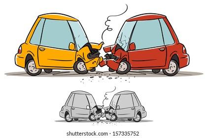 car accident. cartoon illustration isolated on white