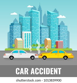 Car accident concept. City downtown landscape on the background. Vector illustration.