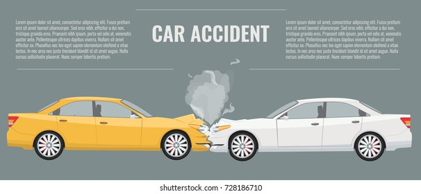 Car accident concept illustration. Flat and solid color vector