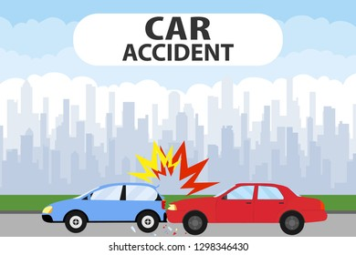 Car accident concept illustration. Car Accident on the road. Transporation Infographic. Banner Flat Vector Illustration.