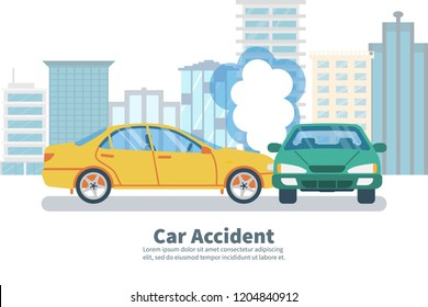 Car accident concept on background of big city. Transport incident, cartoon style. Vector illustration flat design. Two vehicle collided on the road. Crash car. Violation of driving safety rules.