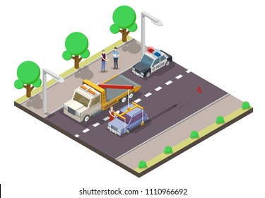 Car accident concept vector flat illustration. Isometric tow truck lifting damaged car, police car and policeman interviewing driver about traffic accident.