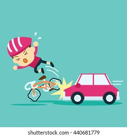 car accident crash cyclist ride a bicycle